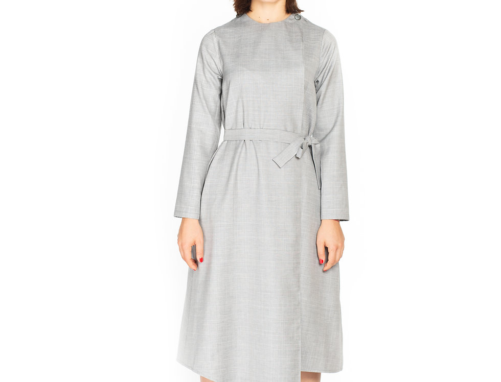 Checked Wool Midi Asymetrical Dress with Long Sleeves