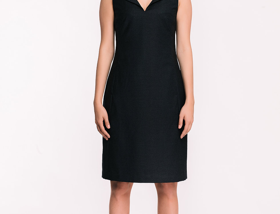 Dark Blue Wool Tube Dress