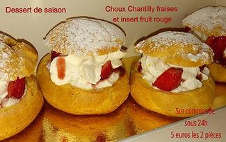 Choux Chantilly Fraises et insert fruit rouge