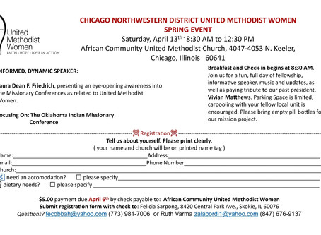 Chicago Northwestern District United Methodist Women Spring Event