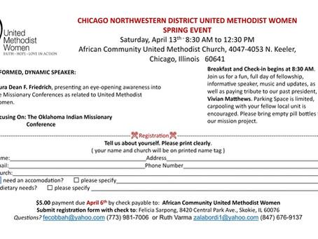 Chicago Northwestern District United Methodist Women Spring Event