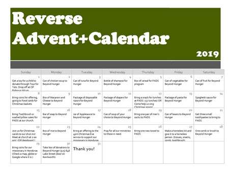 Reverse Advent Calender