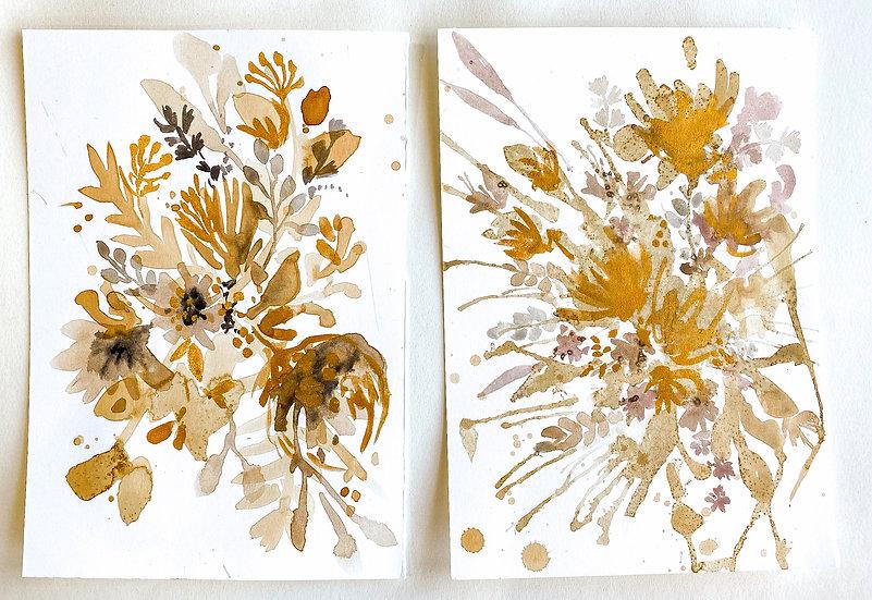 Tea Stain Botanical Original Painting #13 Pair of Originals