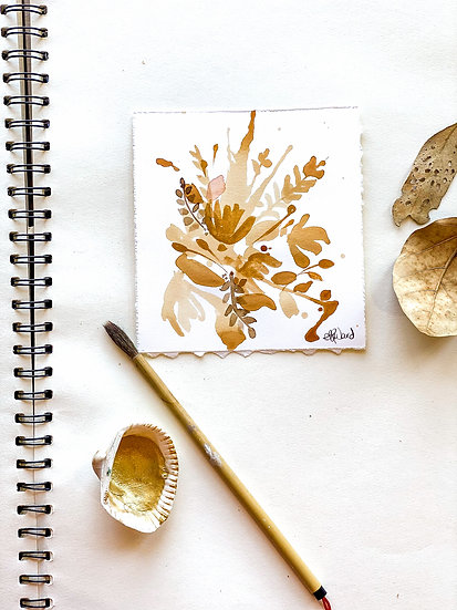 Tea Stain Botanical Original Painting #3