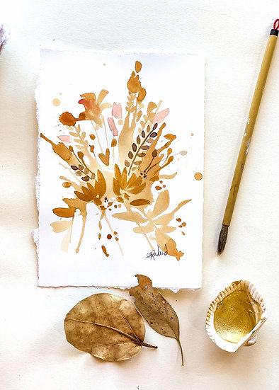 Tea Stain Botanical Original Painting #8