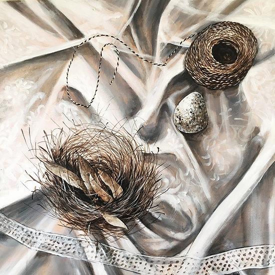 Nest, string & stone. Acrylic Painting 60cm x 60cm