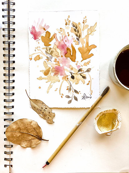Tea Stain Botanical Original Painting #11