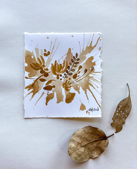 Tea Stain Botanical Original Painting # 1