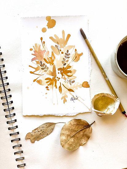 Tea Stain Botanical Original Painting #12