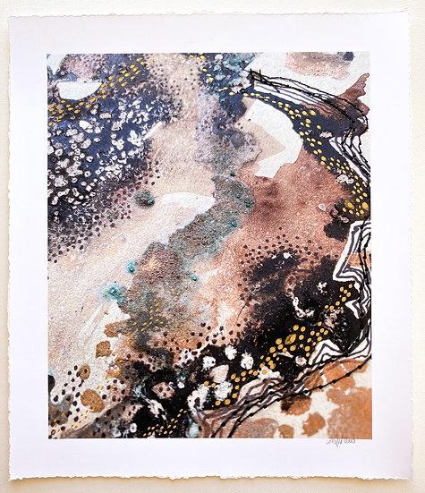Ancient Land //Hand embellished Fine Art Print