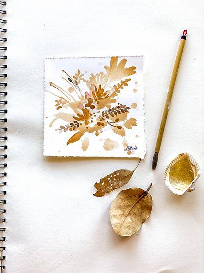 Tea stain Botanical Bouquet #2 Original Painting