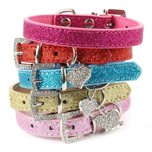Designer Bling Crystal Pendant Soft Leather Collar for Dog and Cat