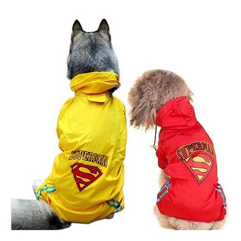 Puppy Love Jumpsuit Styled Superhero Raincoats for Medium Breed Dogs