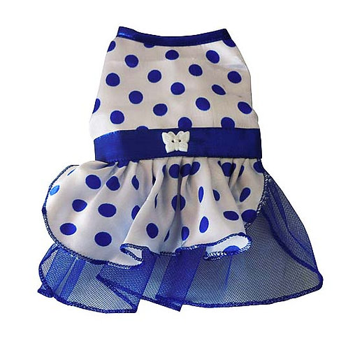 White Blue Polka Dots Cat Frock