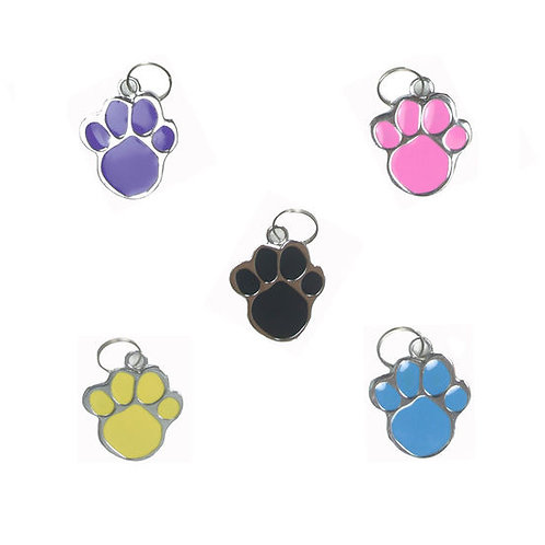 Rodium Paw Shaped Collar Pendant for Pets