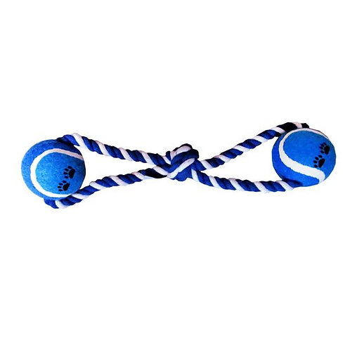Canine Solid Ball Rope Play Tug