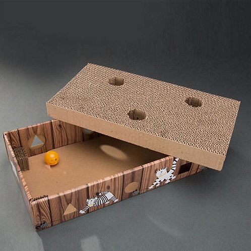 Imported Ye Wang Corrugated Scratch Box with Balls Cat Toy