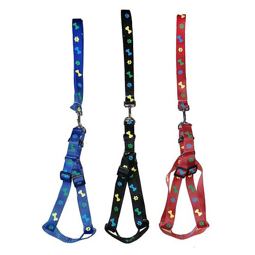 Canine Nylon Adjustable Paw Print Dog Harness and Leash Set
