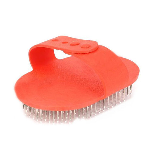 HT Hand Rubber & Steel Pin Massaging Bathing Brush for Pets