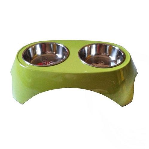 Canine Imported Premium Melamine Double Steel Bowl Set
