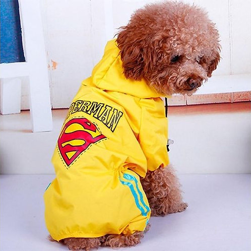Puppy Love Jumpsuit Styled Superhero Raincoats for Small Breed Dogs