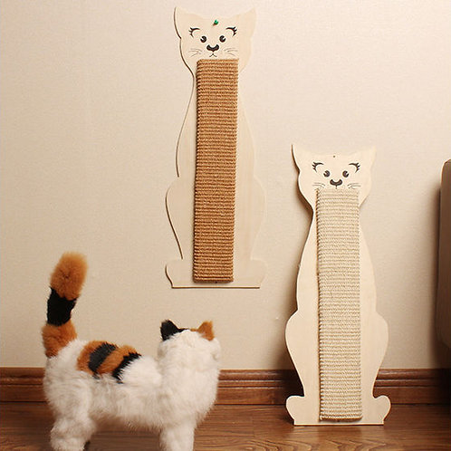 Canine Cat Kitten Shaped Wall Mounted Wooden Sisal Scratch Board