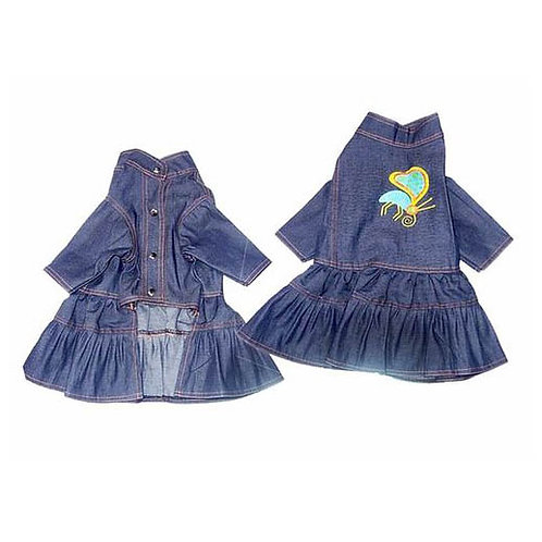 Zorba Party Wear Denim Dress for Puppy to Toy Breed Dog and Cats
