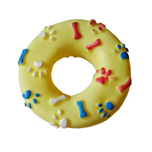 Canine Vinyl Plastic Donut Ring Squeaky Cat and Dog Toy