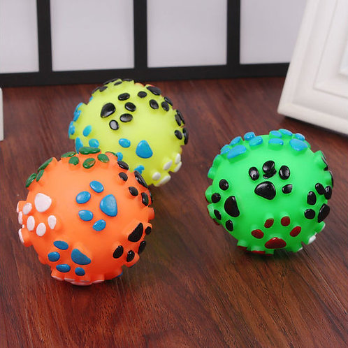 Vinyl Paw Printed Squeaky Ball Dog and Cat Toy