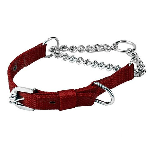 Kennel Nylon Choke Collar with Thin Chain for Medium Dogs