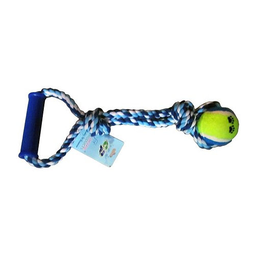 Canine Solid Ball Rope Play Tug with Plastic Handle