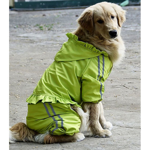 Puppy Love Frilly Jumpsuit Raincoat for Large Breed Dogs
