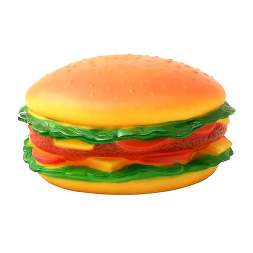 Jumbo Burger Shaped Latex Squeaky Dog Toy