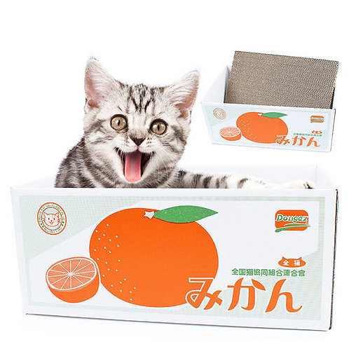 Dougez Interactive Corrugated Scratch Cardboard Box Cat Toy