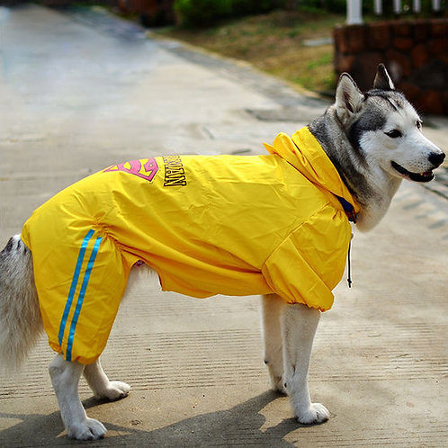 Puppy Love Jumpsuit Styled Superhero Raincoats for Large Breed Dogs