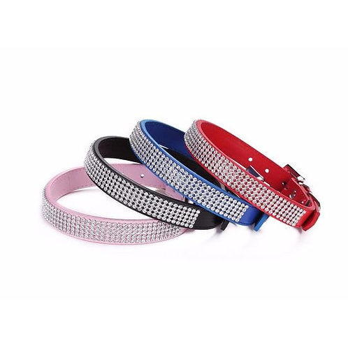 Holapet Designer Bling Rhinestone Soft PU Leather Collar