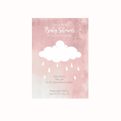 Pink cloud baby shower invitations darling prints lancashire uk pink cloud baby shower invitations filmwisefo Image collections