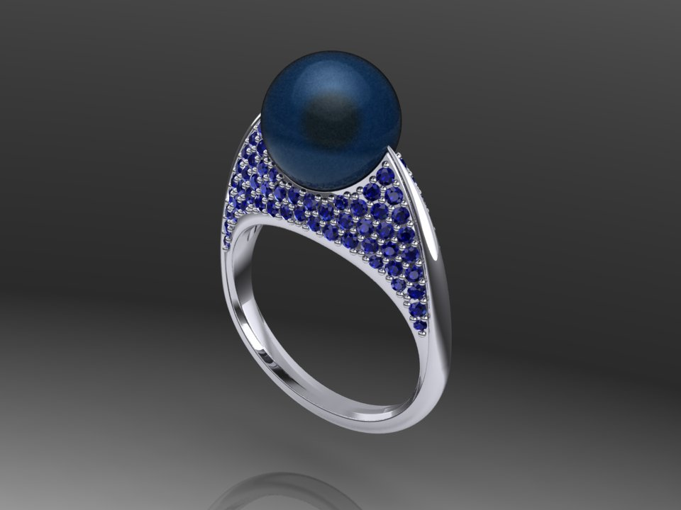 Tapered Blade Pearl ring