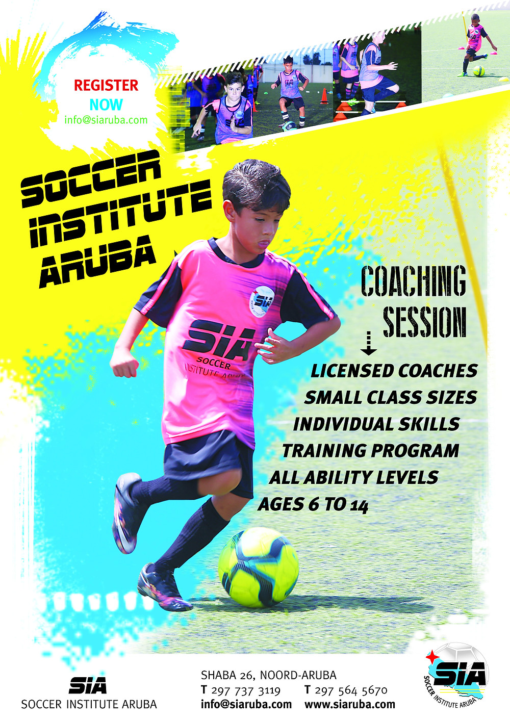 Soccer Institute Aruba (SIA) is a soccer technique school founded in Aruba in 2015 by a group of professionals with experience teaching this sport in the formative stages in Aruba and in the Netherlands.     The Soccer Institute Aruba (SIA) has highly qualified technical staff with international training experience. SIA focuses on improving the technical skills of children between the ages of 6-14 by providing training in addition to the regular workouts offered to children by their respective soccer clubs. Training takes place in groups consisting of a maximum of ten players based on their technical skills. SIA uses different ways of teaching in order to achieve the maximum learning experience for each player.