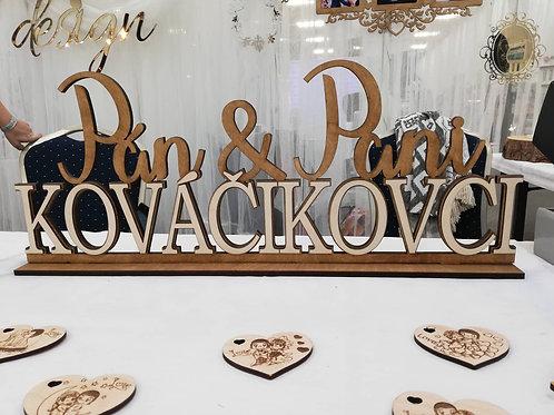 Svadobné mená na svadobný stôl