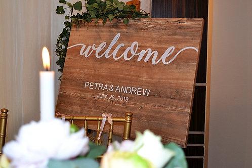 Uvítacia tabuľa na svadbu