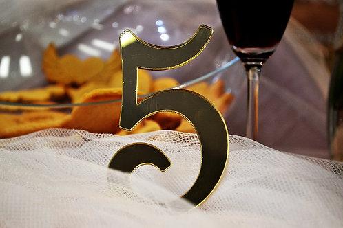 Zrkadlové čísla na svadobný stôl
