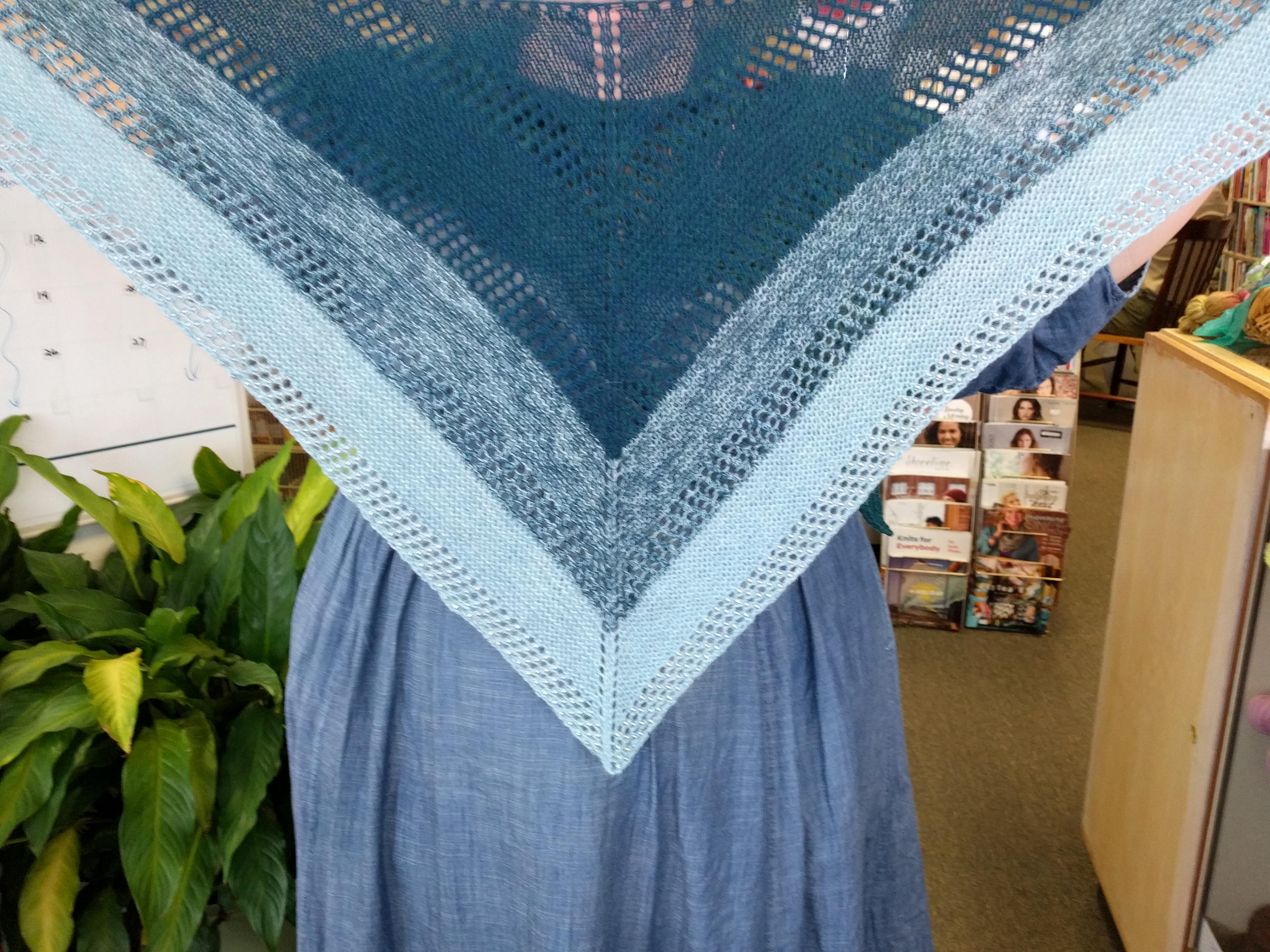 Lyn's Blue Alpaca lace Shawl