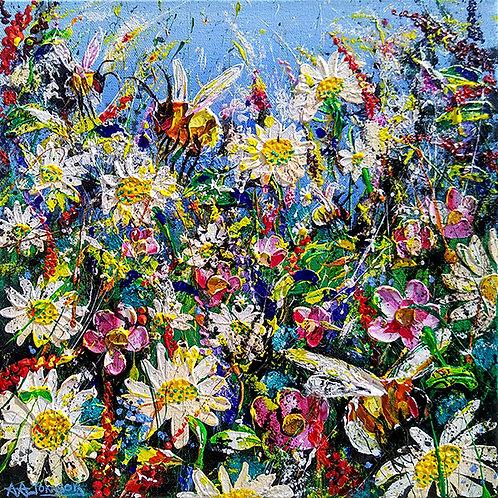 Impasto florals - 'Hidden Bumbles'