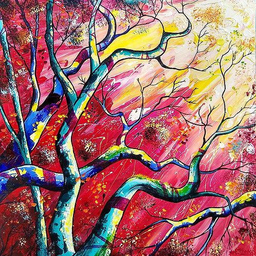 'Beauty and the Beast' - Tree branches under a red stormy sky, pop art style