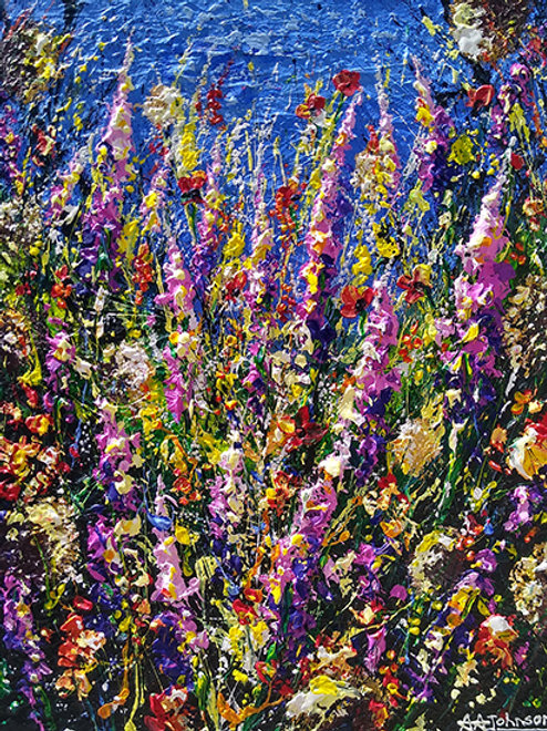 'Wildflower Magic' - Impressionist pink and purple wildflower impasto art