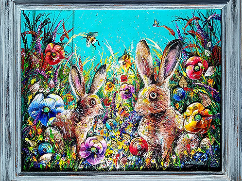 'A Delightful Summer' -  Wildflower meadow art with poppies and two wild hares