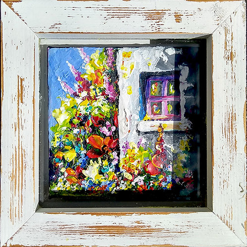 'Cottage Blooms #2' - A small shabby chic painting of a white cottage