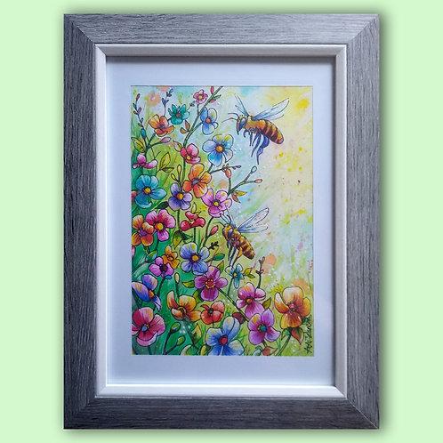 Original watercolour - Honeez in flowers