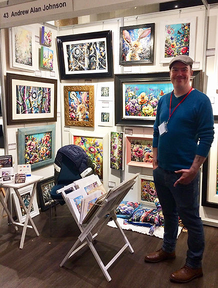 artist displaying floral fine art in Chester at Chester Arts Fair